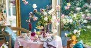 Deco, Fruehling, Blueten, Blumen, Tisch, Kuchen, Sweet, Silber, Besteck, Vogel,