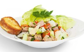 Rezept, Siedfleisch, Salat, Knoblibrot, Gesund, einfach