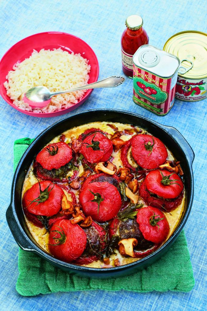 Tomaten, Rezept, Ruehrei, Stangensellerie, Suppe, Eierschwaemmen, Rahmsauce, Buttermilchglace, Wassermelone, Waffeln